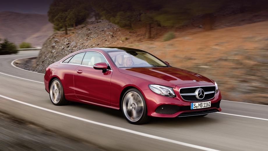 Mercedes e,Mercedes e coupe. Длина купе равна 4826 мм (+123 мм к предшественнику), ширина и высота — 1860 (+74) и 1430 (+32) соответственно, колёсная база прибавила 113 мм (до 2873). Колея увеличена на 67 и 68 мм (спереди и сзади). (На снимке — исполнение Avantgarde.)