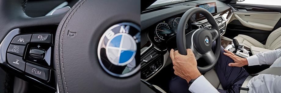 Кнопки автопилотных функций — на левой спице руля. Пологому курсу «пятёрка» с полминуты следует сама, после чего пищит, требуя взяться за руль. Автоперестроения — смех: нужно придерживать руль, фиксируемый рычаг поворотников, и это всё равно не работает.