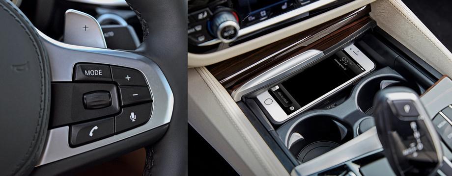 На правой спице руля — кнопка включения голосового управления мультимедийной системой. Под центральной консолью — место для индуктивной зарядки смартфонов: iPhone, «в базе» такой функции не имеющий, заряжается через чехол-переходник.