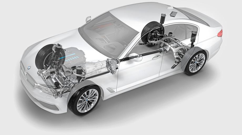 Шасси «пятёрки» BMW поколения G30 унифицировано с «семёркой» G11/G12, будущей «трёшкой» и кроссоверами X5 и X6. Пневмоподвески нет. Полный привод — с подключаемой многодисковой муфтой передней осью.