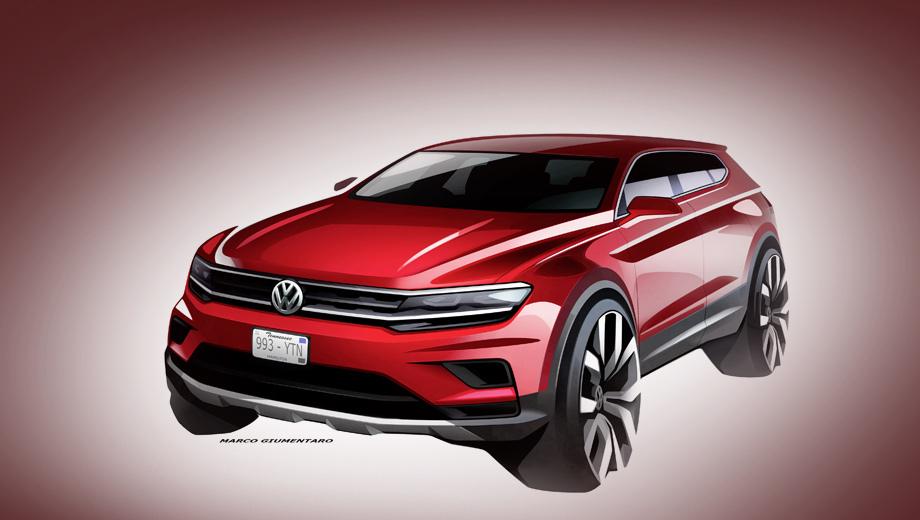 Volkswagen tiguan,Volkswagen tiguan xl,Volkswagen tiguan allspace. Сама фирма показала лишь такой скетч. Выпускать этот автомобиль будет завод Фольксвагена в мексиканском городе Пуэбла.