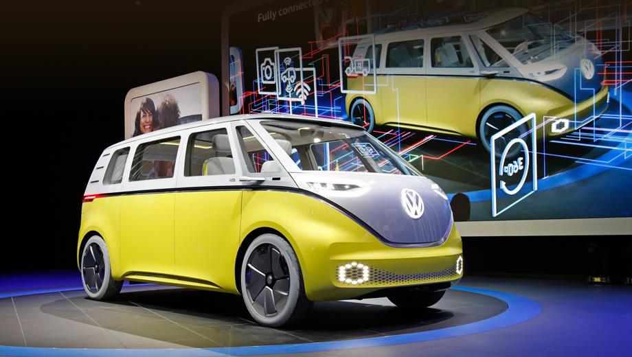 Volkswagen id buzz,Volkswagen microbus,Volkswagen concept. Концепт удачно совмещает нотки ретро с современными элементами — светодиодной оптикой и оригинальными 22-дюймовыми колёсными дисками с окраской Galvano Gray.