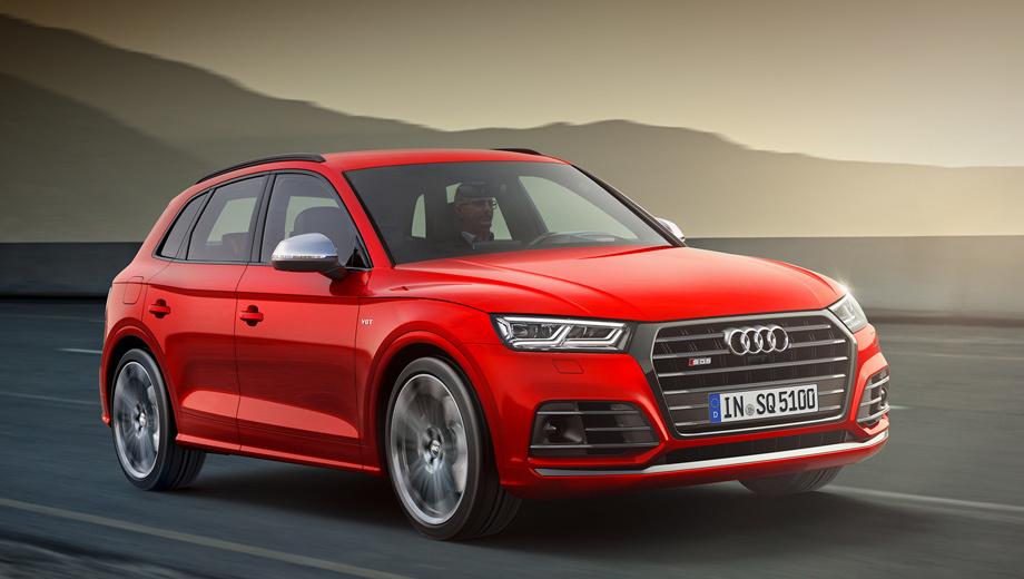 Audi sq5. Внешне «зажигалка» отличается от обычного «ку-пятого» отделкой решётки, слегка переработанными бамперами, деталями обвеса, серебристыми корпусами зеркал, особенными колёсными дисками и, конечно, шильдиками SQ5.