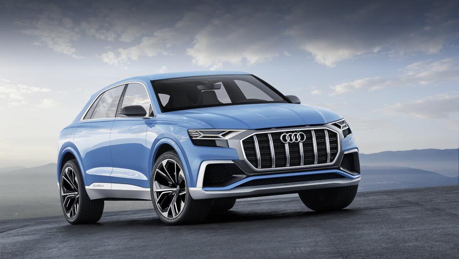 Audi q8,Audi concept. Длина концепта равна 5,02 м, ширина — 2,04 м, высота — 1,7 м, база — около трёх метров. Шины размерностью 305/35 надеты на 23-дюймовые колёсные диски, за которыми видны углеродокерамические тормозные диски диаметром 20 дюймов.