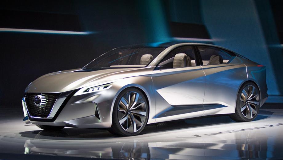 Nissan vmotion,Nissan concept. Длина шоу-кара — 4860 мм, ширина — 1890, высота — 1380, колёсная база — 2850 мм (такое расстояние между осями, кстати, характерно для ряда моделей Infiniti). Никакие другие характеристики, к сожалению, не обнародованы.