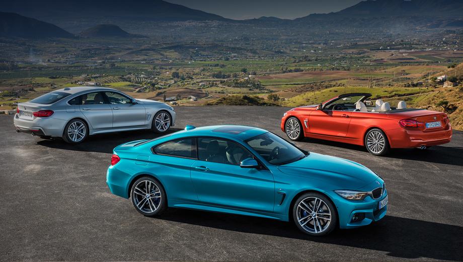 Bmw 4,Bmw m4,Bmw 4 gran coupe. За период 2013–2016 гг. «четвёрки» BMW всех модификаций разошлись по миру тиражом почти 400 000 экземпляров. У нас итогам прошлого года реализовано лишь 530 машин. «Трёшка» намного популярнее: 4158 автомобилей и лидерство в премиальном D-сегменте.