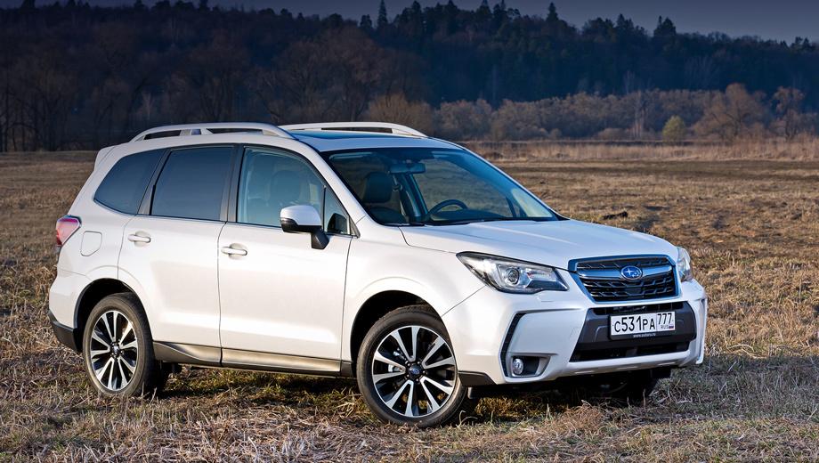 Subaru forester,Subaru outback. По продажам в 2016 году Subaru Forester занимает в классе среднеразмерных кроссоверов четвёртое место ― 3979 машин. Чемпион сегмента Nissan X-Trail значительно популярнее ― 17 886 штук.