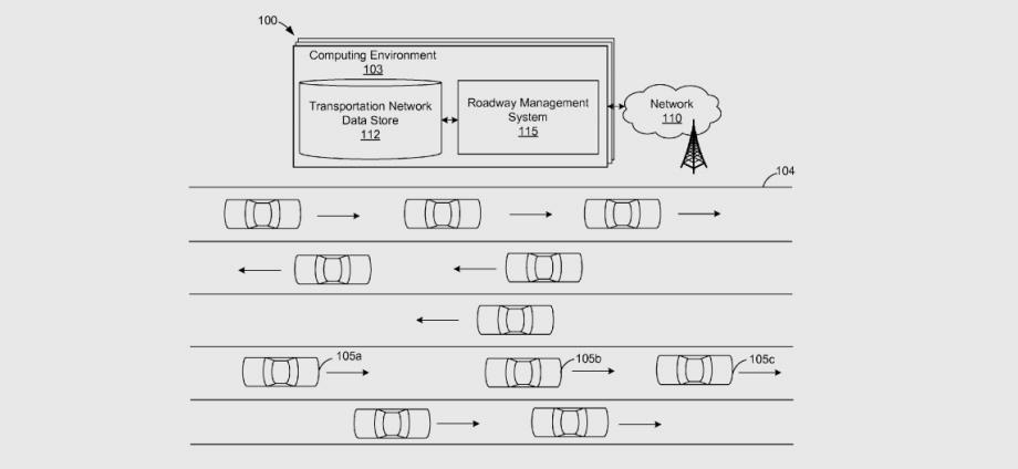 """В патенте Амазона описана <a href=""""/e/BkeHAEAABuk"""" class=""""c-link"""">двусторонняя связь</a> между беспилотниками и инфраструктурой. Легковушка может послать в центральный компьютер запрос на занятие определённого участка шоссе, а в ответ получить разрешение или иную рекомендацию. Так можно оптимизировать потоки машин."""