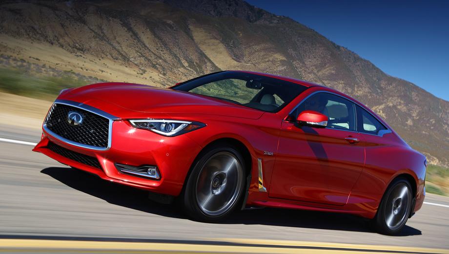 Infiniti q60. Полностью диодные фары с продвинутой системой регулировки пучка света, аэродинамический обвес, электронное рулевое управление, 19-дюймовые колёса Run Flat, моноблочные суппорты красного цвета ― стандартное оснащение.