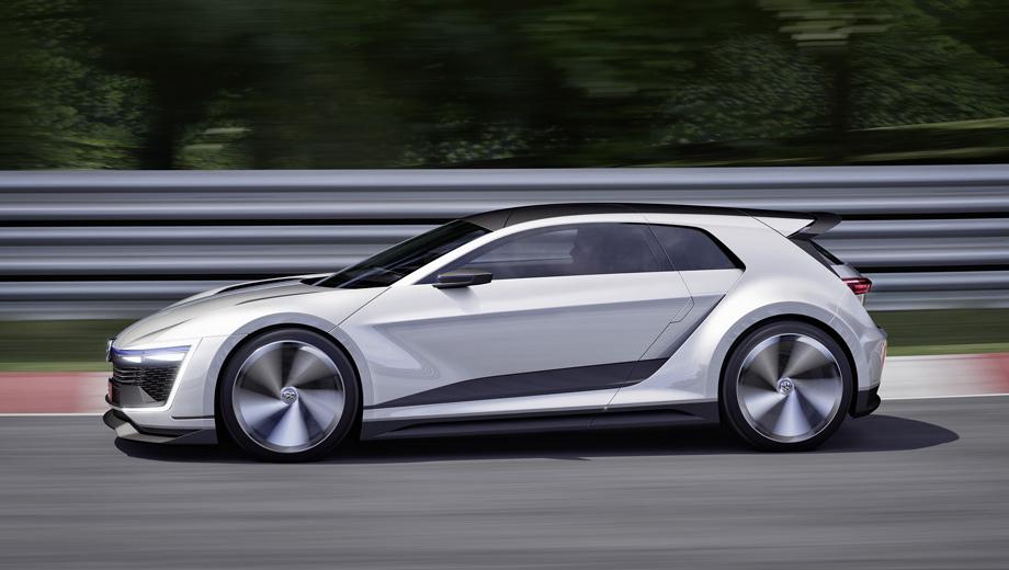 Volkswagen golf,Volkswagen golf gti. Гибридом был 400-сильный концепт Golf GTE Sport с электроприводом на обеих осях, но для GTI полноценная гибридная система тяжеловата, а вот типа Mild Hybrid — в самый раз.