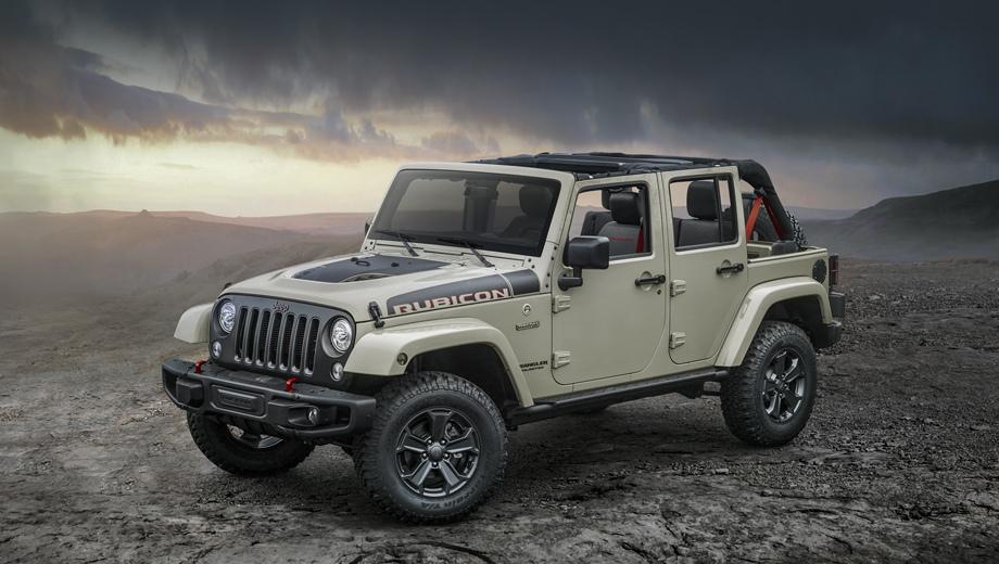 Jeep wrangler,Jeep wrangler rubicon recon. Опознать Recon можно по шильдику на крыле. Другие особенности: решётка цвета Low Gloss Black со вставками оттенка Low Gloss Granite Crystal, такие же ободки фар и новые 17-дюймовые колёса.