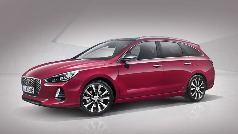 Hyundai i30,Hyundai i30 wagon. После хэтчбека в оформлении носовой части сюрпризов и не ожидалось. Дневные ходовые огни — на светодиодах, такими же могут быть и фары.