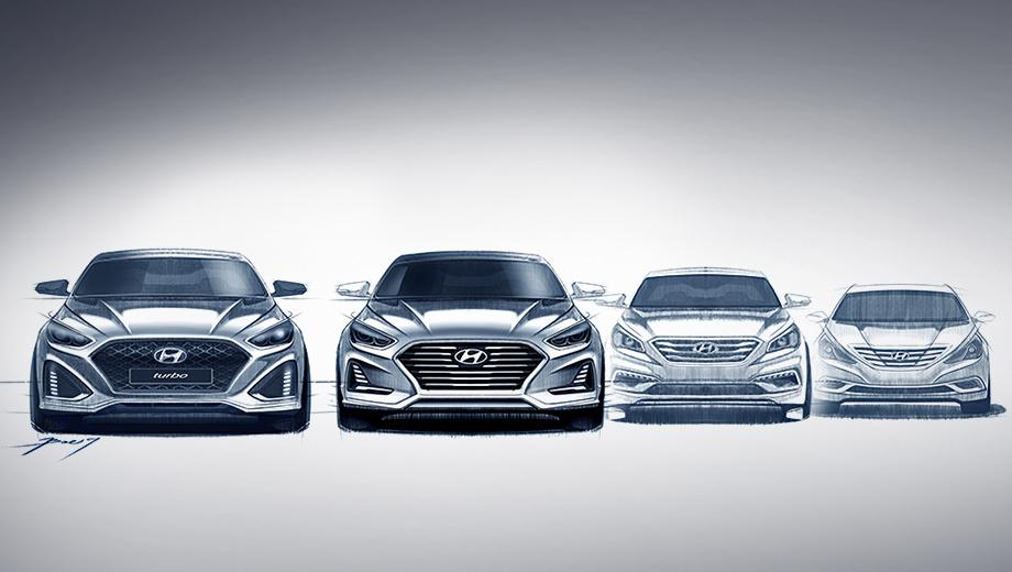 Hyundai sonata. Слева — самая производительная турбоверсия, рядом с ней — обычная обновлённая Sonata. Она, по словам корейцев, развивает направление дизайна, заданное осенью прошлого года «шестым» седаном Hyundai Grandeur. Очень похоже на то. Справа показаны Сонаты двух предыдущих генераций.