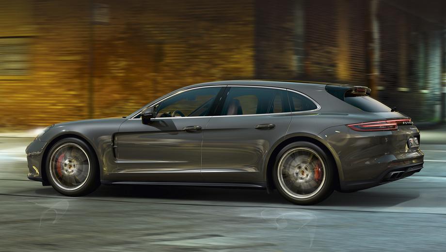 Porsche panamera,Porsche panamera sport turismo. Передняя половина новичка повторяет обычную Панамеру, а начиная со средних стоек идёт самое интересное. По замыслу дизайнеров, форма крыши и остекления должны вызывать ассоциации с купе. (На фото — модификация Turbo.)