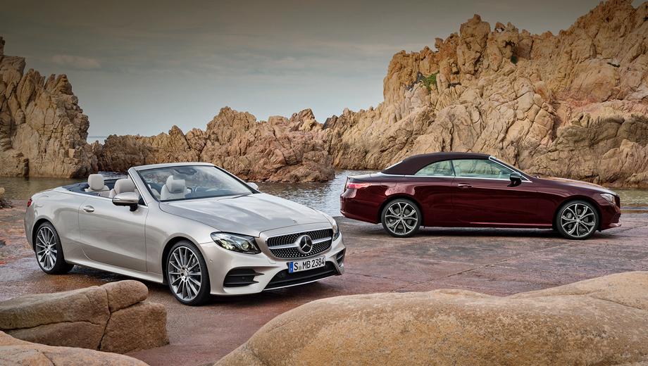 Mercedes e,Mercedes e cabrio. Мягкий верх по конструкции такой же, как у открытого S-класса. Крыша, которая автоматически складывается за 20 с на скоростях до 48 км/ч, может быть коричневой, синей, красной или чёрной. С ветром в салоне борются система AirCap и «шарф» AirScarf.