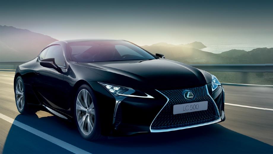 Lexus lc. Предусмотрено семь цветов кузова и три — салона. Из интересных моментов: активный задний спойлер и система динамического управления с подруливаемыми задними колесами. Из обязательных — система ЭРА-ГЛОНАСС.