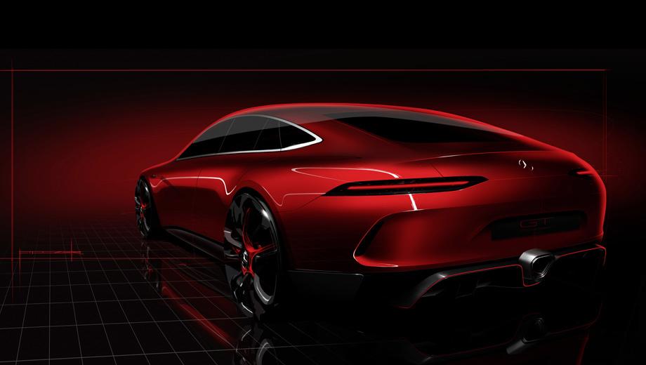 Mercedes amg gt,Mercedes amg gt concept,Mercedes concept. Кузов оригинальный, но задачей дизайнеров было создание впечатления, что они «просто растянули» GT, дабы поместилась ещё пара створок. Открывается ли сзади пятая дверца или только крышка багажника — неясно.