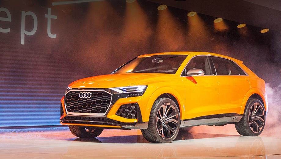 Audi q8 concept,Audi q8 sport,Audi q8. По сравнению с образцом, показанным в Детройте, колёсные арки были увеличены на 12 мм.