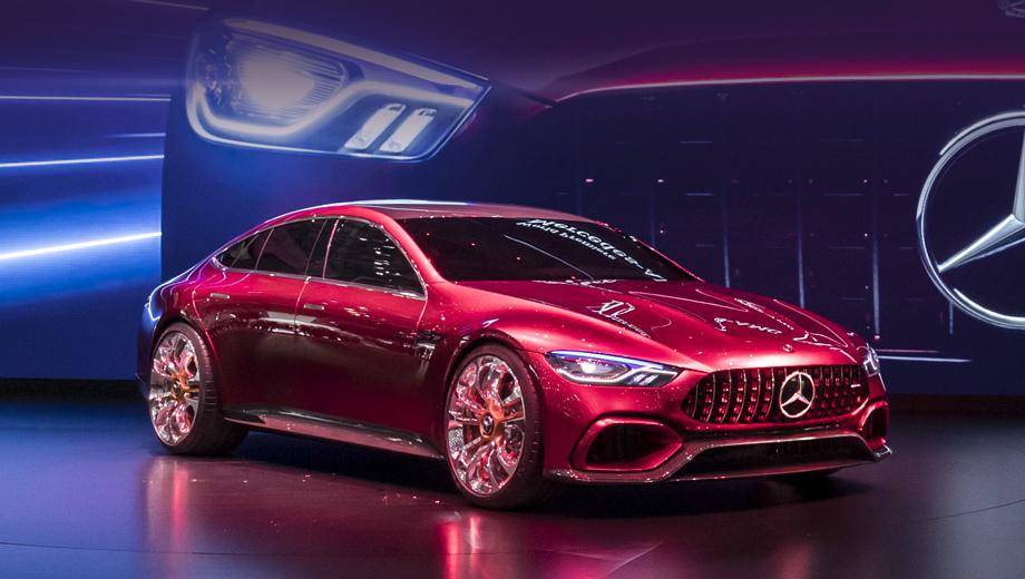 Mercedes amg gt concept,Mercedes concept. От AMG GT дизайнеры постарались перенять стилистику с решёткой Panamericana и рельефным капотом, сбоку опускающимся на колёсные арки.