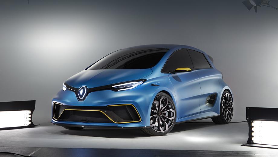 Renault zoe e-sport,Renault zoe,Renault concept. Увы, но с одноимённой серийной пятидверкой шоу-кар Zoe e-Sport не имеет практически ничего общего, даром что сделан похожим внешне.