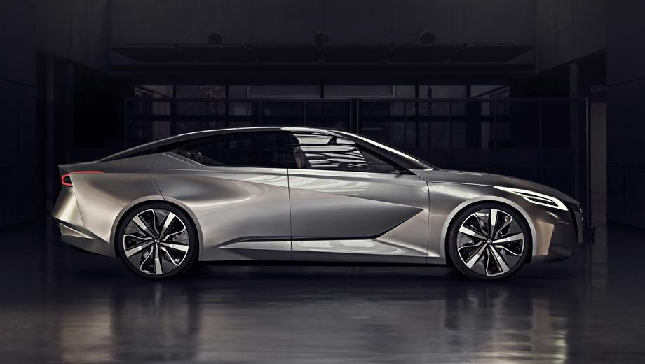 Nissan leaf. Рукводитель компании намекнул, что со временем мы можем увидеть всё больше и больше электрокаров в разных классах. Один из них мог бы выглядеть, например, как концепт Vmotion 2.0.