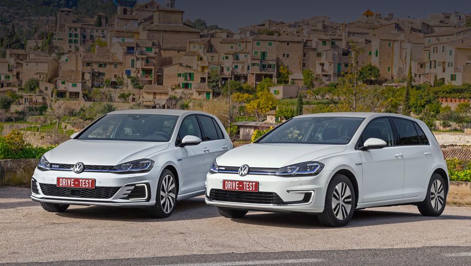 Volkswagen golf,Volkswagen e-golf,Volkswagen golf r,Volkswagen golf gti. Гибридный GTE (слева) с суммарной отдачей 204 л.с. в Германии стоит минимум 36 900 евро, e-Golf с электромотором мощностью 136 л.с. на тысячу евро дешевле. Вообще же, разброс цен на обновлённый Golf огромен: от 17 850 евро за литровую 85-сильную версию до почти 41 тысячи за топ-модель R.