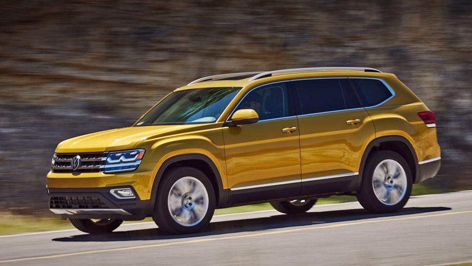 Volkswagen teramont,Volkswagen atlas. В Америке Volkswagen Teramont называется Atlas и стоит от $31 425 за переднеприводную версию 2.0 TSI (238 л.с.). Полный привод там сочетается только с мотором 3.6 (279 л.с., от $34 625), однако в России «всеведущим» будет даже базовый Teramont. Дизелей нет и не предвидится.