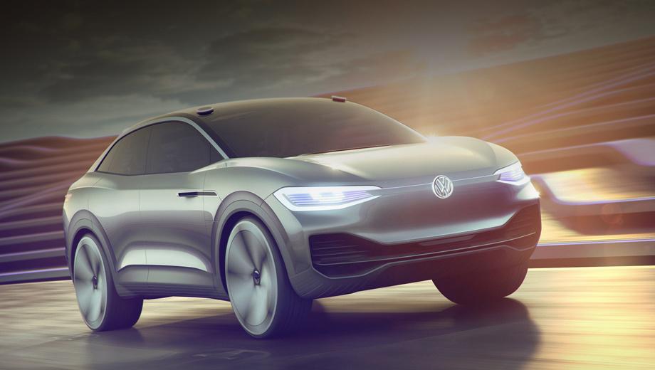 Volkswagen id crozz,Volkswagen concept. Для модели придуман цвет Silver Spark, а дизайн с лаконичными чистыми поверхностями и мускулистыми крыльями призван создать впечатление, что машина выточена из цельного куска алюминия.