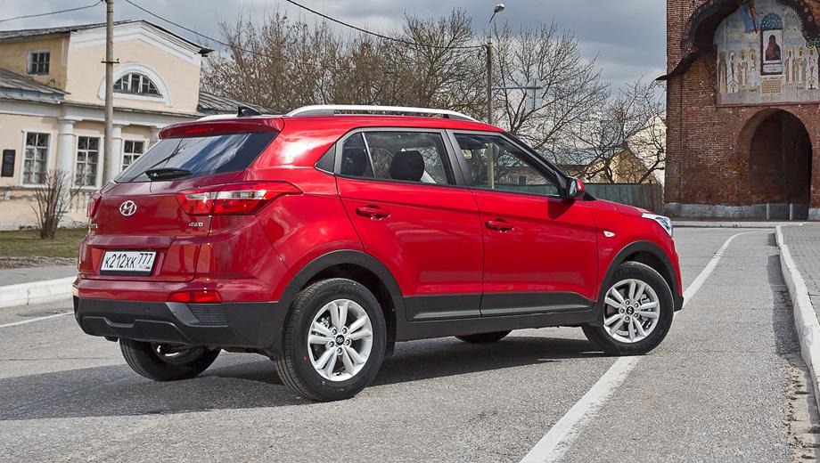 Полноприводная Creta 1.6 с «механикой» бывает только в исполнении Active. С «автоматом» — в топ-версии Comfort Plus (на фото): у неё боковые подушки безопасности и надувные занавески, рейлинги на крыше, литые колёса, климат-контроль, задние датчики парковки и проекционные фары.
