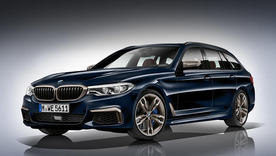 Bmw 5. Вне зависимости от типа кузова максимальная скорость BMW M550d xDrive ограничена электроникой на отметке 250 км\ч. Расход топлива в смешанном цикле у седана и универсала составляет 5,9 и 6,2 л/100 км.