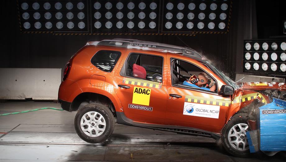 Renault duster. Эксперты Euro NCAP проверяли Duster в 2011 году и поставили ему три звезды из пяти возможных: защита взрослых — 74%, детей — 78%. Водительской подушки в Дастере тогда тоже не было, зато имелись пассажирская и боковые.