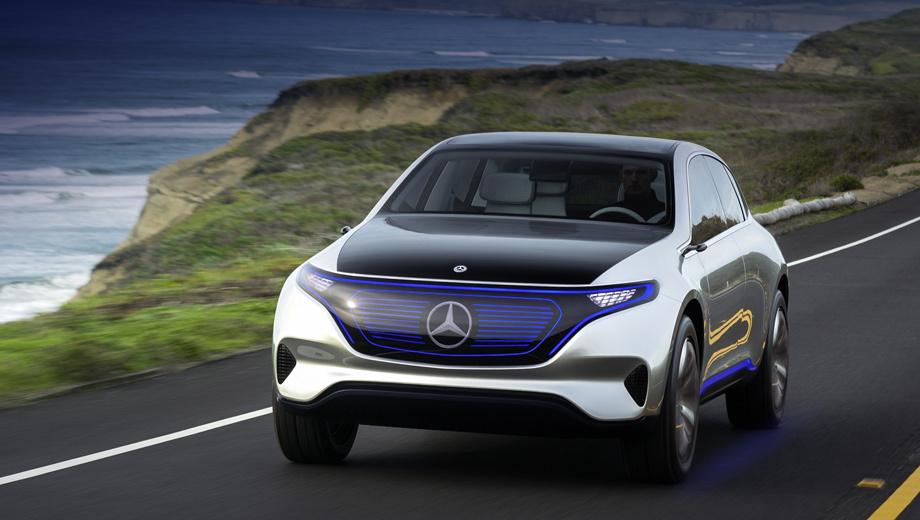 Mercedes eq,Mercedes we a. Концептуальный кроссовер Generation EQ (на фото) осенью прошлого года дал представление о стилистике всех будущих электрокаров Мерседеса. В серии паркетник якобы получит имя EQ C. Также Daimler зарегистрировал товарные знаки EQ E и EQ S.