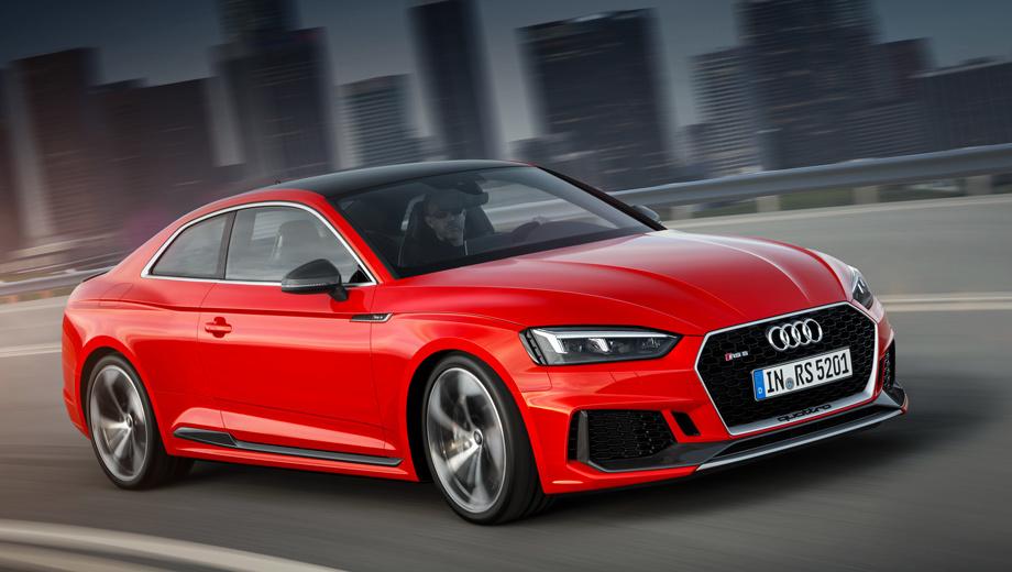 Audi rs5. «Эр-эс-пятая» разменивает сотню за 3,9 с и достигает 280 км/ч, уделывая абсолютное большинство конкурентов. Боковые зеркала с отделкой матовым алюминием и 19-дюймовые колёса идут «в базе».