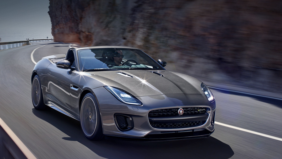 Jaguar f-type. Хэтчбек и родстер Jaguar F-type с двигателем 2.0 легче своих шестицилиндровых собратьев на 52 кг ― 1525 и 1545 кг соответственно. И вне зависимости от типа кузова 300-сильные машины ускоряются до сотни за 5,7 с, а их максимальная скорость достигает 250 км/ч.