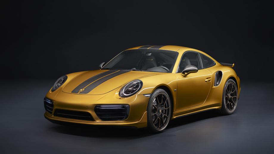 Porsche 911,Porsche 911 turbo,Porsche 911 turbo s exclusive series. Финальная доработка спецсерии — дело рук мастеров фабрики Porsche Exclusive в Цуффенхаузене. Тон в представленном образце задают эксклюзивный «металлик» Golden Yellow и чёрные полосы с вплетёнными углеродными нитями. При заказе можно будет выбрать иную окраску.
