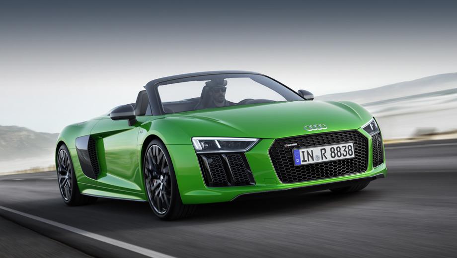 Audi r8,Audi r8 spyder. Автомобиль, подготовленный специалистами Audi Sport GmbH, стал самой быстрой серийной открытой моделью марки. На снимках — машина в новом эксклюзивном цвете Micrommata green с антрацитово-серой решёткой радиатора.