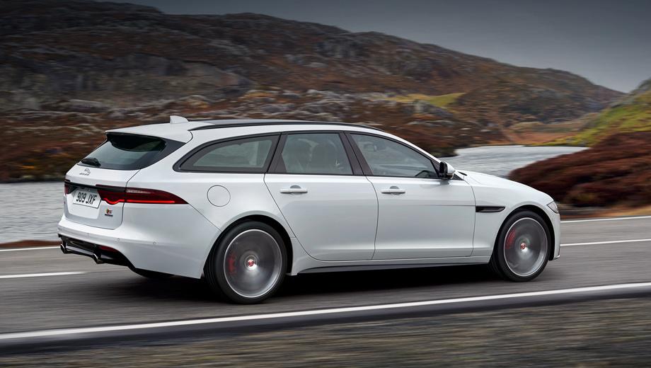 Jaguar xf,Jaguar xf sportbrake. Машина со 163-сильным дизелем 2.0 и «автоматом» ускоряется до сотни за 9,4 с. Аналогичный показатель у автомобилей с 240- и 300-сильным турбодизелем не превышает 6,7 и 6,6 с соответственно. Версия с бензиновым турбомотором с 250 л.с. чуть медленнее ― 7,1 с. Максимальная скорость ― от 219 до 250 км/ч.