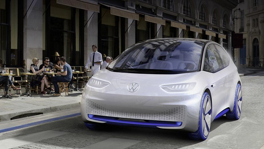 Volkswagen concept. Интеллигентные во всех смыслах Фольксвагены порадуют покупателей широкой палитрой кузовов. На снимке показан шоу-кар I.D., предвещавший серийную линейку таких машин.