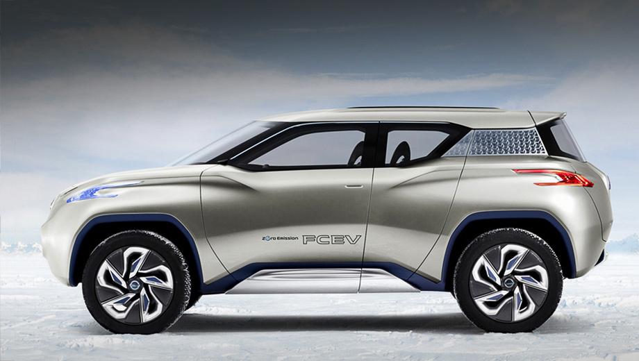 Nissan terra. В шоу-каре пятилетней давности использовалась переднеприводная архитектура «первого» Лифа, а электромоторы на задней оси питали водородные топливные элементы. Технические характеристики объявлены не были, в движении концепт нам не показали.