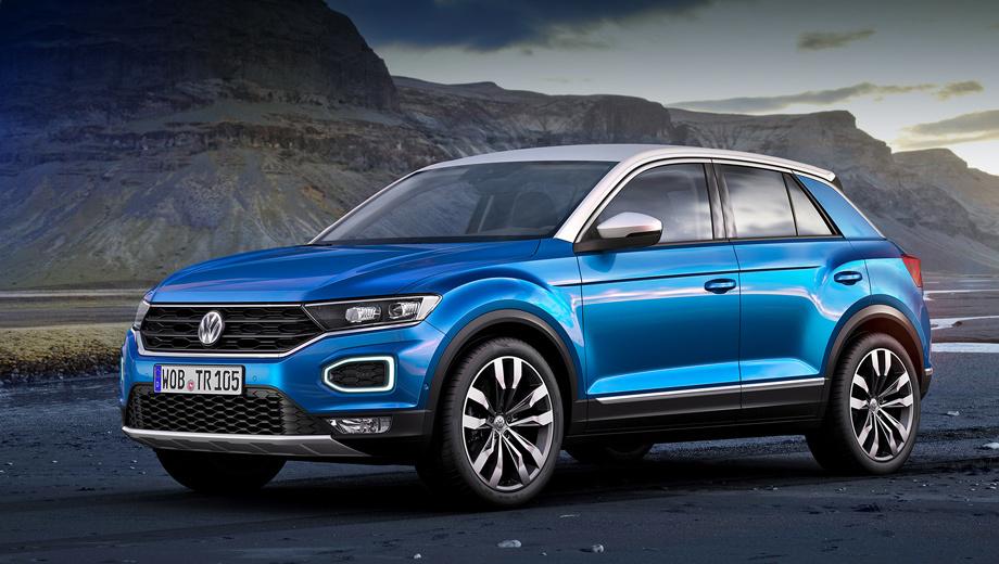 Volkswagen t-roc. Длина модели равна 4234 мм, ширина — 1819, высота — 1573, колёсная база — 2603 мм (на 39 больше, чем у хэтча Polo). Объём багажника с разложенным/сложенным вторым рядом — 445/1290 л.