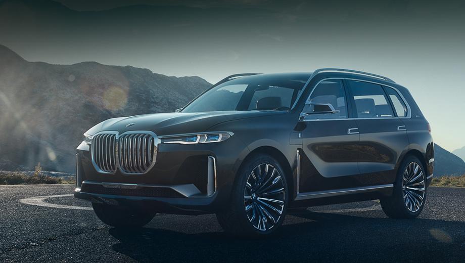 Bmw x7,Bmw concept,Bmw concept x7. В 2013 году баварцы впервые заговорили об X7, и даже прототипы строили. Теперь можно примерно оценить, как будет выглядеть финальный вариант. Модель узнаётся как BMW и в то же время обладает множеством новых чёрточек.