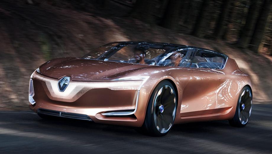 Renault symbioz,Renault concept. «Мы больше не можем думать о дизайне автомобиля в отрыве от окружающей нас экосистемы», — заявил шеф-дизайнер Лоренс ван ден Акер. Его команда сделала шоу-кар прозрачным и светящимся.