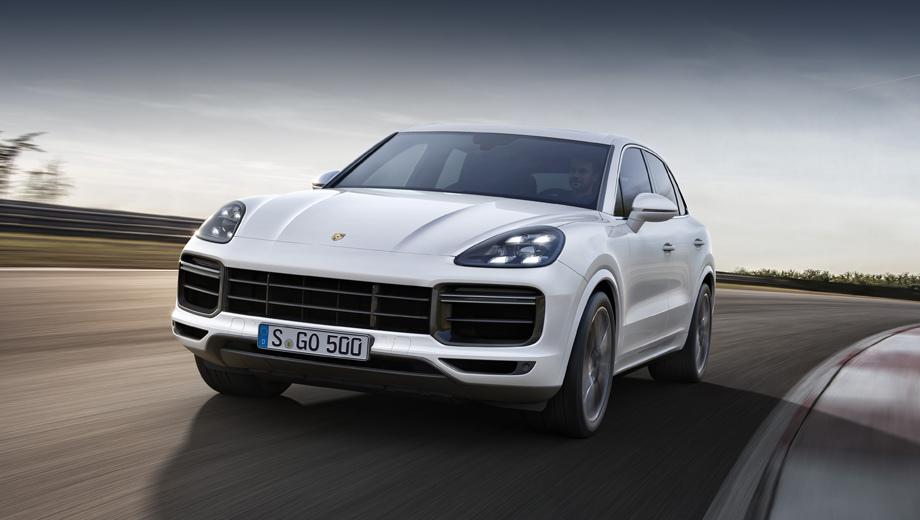 Porsche cayenne,Porsche cayenne turbo. Спереди Turbo-вариант Кайена можно отличить по оригинальному бамперу со сдвоенными диодными полосками вместо одинарных у менее мощных версий.