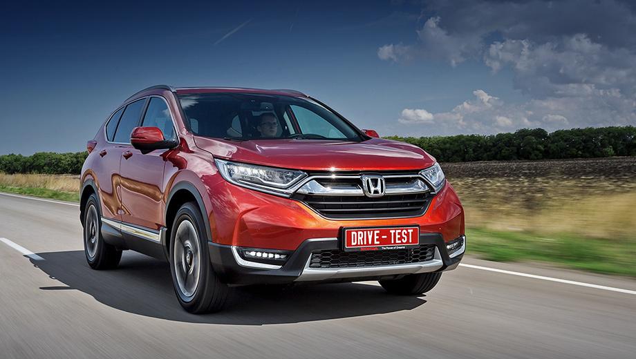 Honda cr-v. В базовом CR-V 2.0 (150 л.с.) за 1 769 900 рублей — восемь подушек безопасности, климат- и круиз-контроль, задние датчики парковки и ещё по мелочи. С мотором 2.4 (188 л.с.) Honda стоит минимум 2 109 000, и наша топовая версия Prestige (2,39 млн) доступна только с ним.