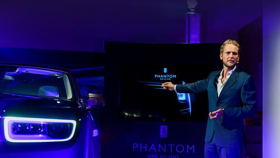 Rollsroyce phantom. Автомобиль в Москве представил руководитель Rolls-Royce по дизайну экстерьера Феликс Килбертус.
