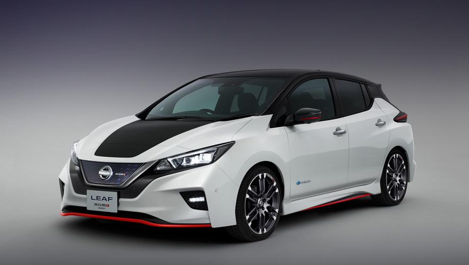 Nissan leaf,Nissan leaf nismo,Nissan serena,Nissan serena nismo,Nissan skyline. Спереди Nismo-версию отличают от обычного Лифа новый передний бампер с губой сплиттера и горизонтальными полосками светодиодов вместо трапециевидных противотуманок, чернёный капот и, конечно, значок на решётке.