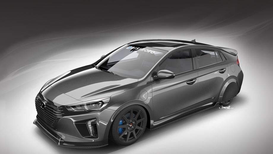 Hyundai ioniq. Углепластиковые колёсные диски диаметром 19 дюймов от Carbon Revolution применены не ради лучшей динамики, а с целью снизить затраты энергии.