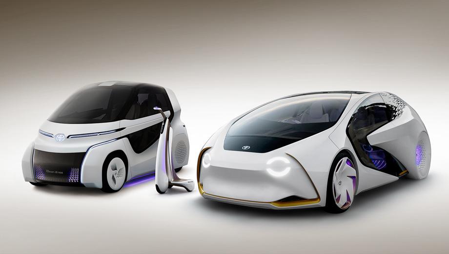Toyota concept,Toyota concept-i,Toyota concept-i walk,Toyota concept-i ride. Слева направо: новый сити-кар Concept-i Ride, скутер Concept-i Walk, уже известный электромобиль Concept-i. Все они призваны стать не просто любимыми машинами человека, а его партнёрами, дарящими «свободу и радость мобильности».