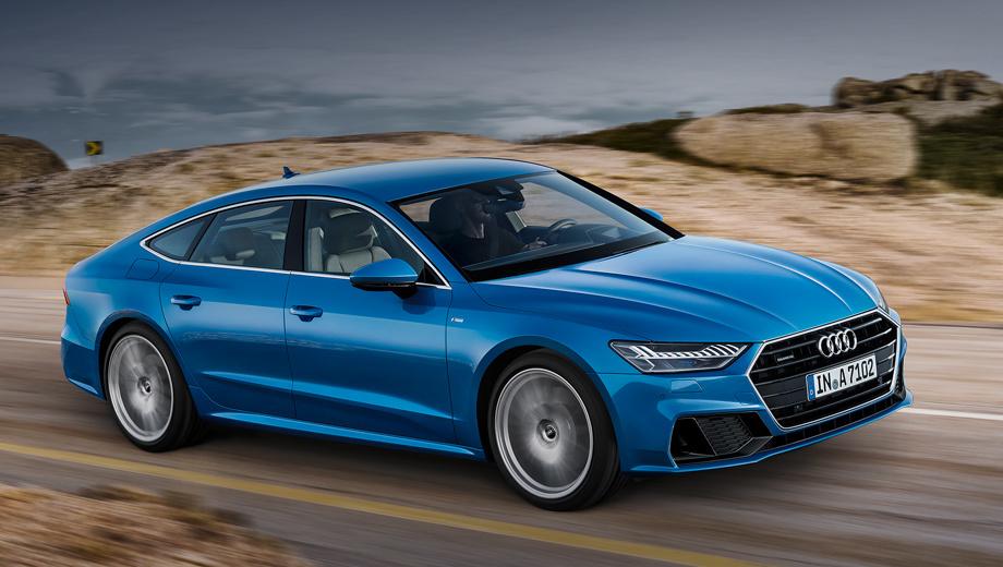 Audi a7. Длина новой «а-седьмой» составляет 4969 мм (−5 мм в сравнении с прошлым поколением), ширина 1908 (−3 мм), высота 1422 (+2 мм). Колёсная база подросла на 12 мм (до 2926). Диаметр колёсных дисков может достигать 21 дюйма, тормозных — 400 мм.