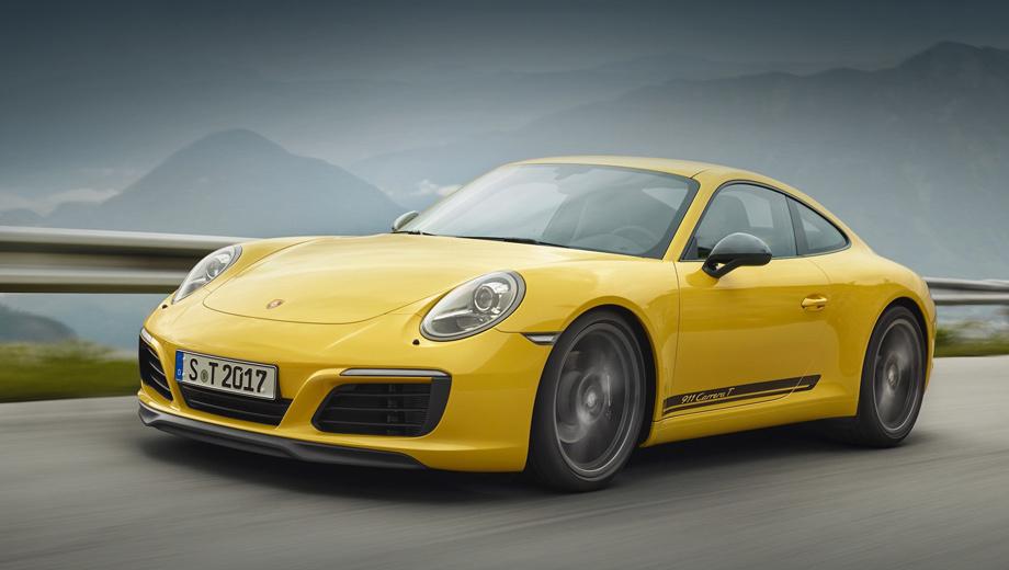 Porsche 911,Porsche 911 t. Внешне Carrera T отличается губой сплиттера, боковыми зеркалами Sport Design, окрашенными в колер Agate Grey Metallic, 20-дюймовыми колёсами, оформлением решётки на крышке двигателя, двухстволкой патрубков по центру, надписями на дверях и шильдиками на корме.
